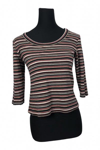 New York & Company, Women's Multi Color Striped Long-sleeved Shirt - Size: L (Regular)