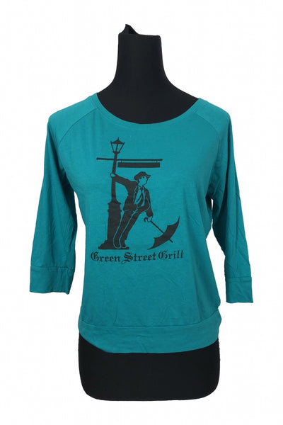 District Made, Women's Teal And Black Crew-neck Long-sleeved Shirt - Size: M (Regular)