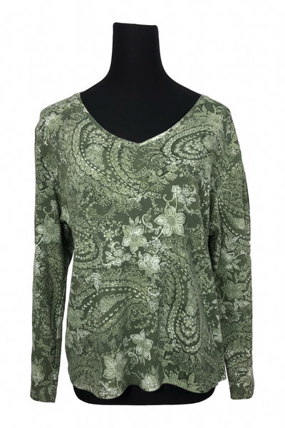 Unbranded, Women's Green Floral Long-sleeved Top - Size: XL (Regular)