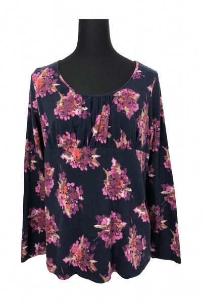 Ann Taylor LOFT, Women's Blue  And Pink Floral Scoop-neck Long-sleeved Top - Size: XL (Regular)