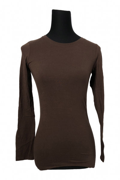 Bozzolo, Women's Brown Long Sleeved Crew Neck Shirt - Size: M (Regular)