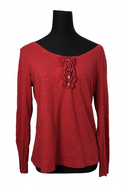 Old Navy, Women's Red Scoop Neck Long-sleeved Blouse - Size: L (Regular)