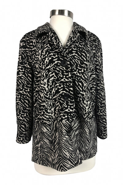 Notations, Women's Black And White Zebra Print Jacket - Size: XL (Regular)