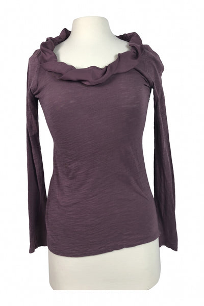 Ann Taylor LOFT, Women's Purple Scoop-neck Long-sleeved Shirt - Size: XS (Regular)