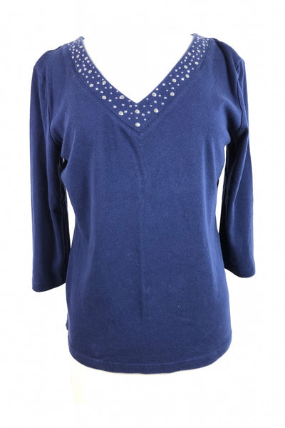 Karen Scott, Women's Blue Quarter-sleeved Shirt - Size: M (Regular)