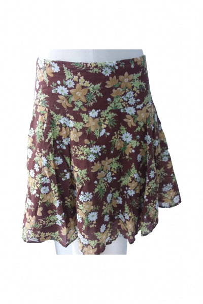 Necessary Objects, Women's Brown And Green Floral Skirt - Size: S (Regular)