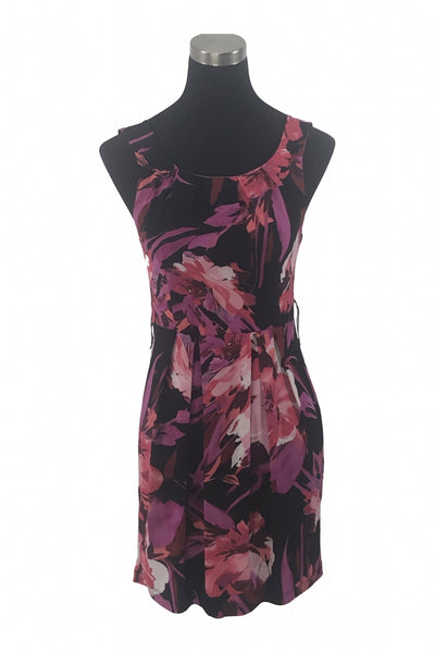 B.smart, Women's Purple And Black Floral Mini Dress - Size: 6 (Petite)
