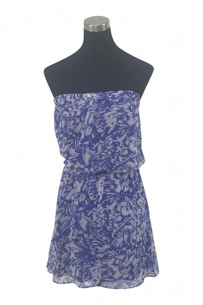 Express, Women's Blue-and-white Strapless Floral Dress - Size: M (Regular)