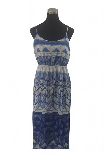Old Navy, Women's Blue And White Spaghetti Strap Dress - Size: L (Regular)