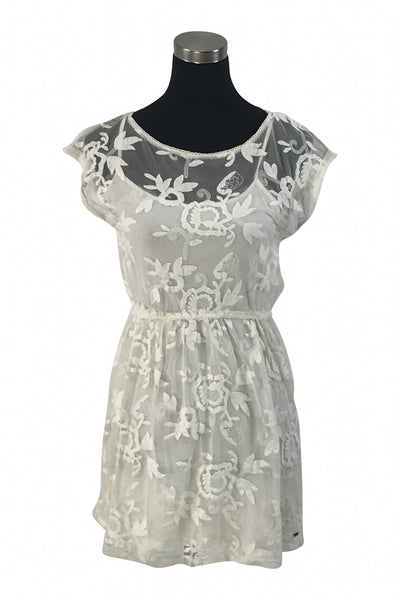 Hollister, Women's White Floral Boat-neck Cap-sleeved Dress - Size: M (Regular)