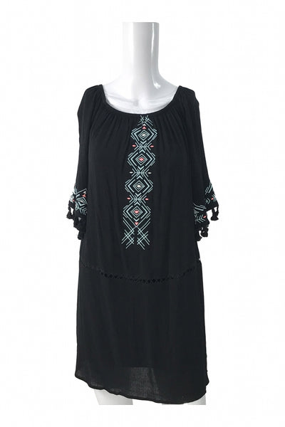 Xhilaration, Women's Black And Teal Long-sleeved Dress - Size: S (Regular)
