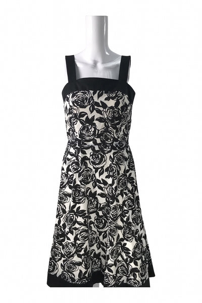 R&K, Women's Black And White Floral Dress - Size: 10 (Regular)