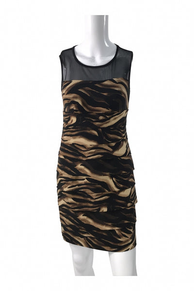 En Focus Studio, Women's Black And Brown Zebra Print Dress - Size: 4 (Regular)
