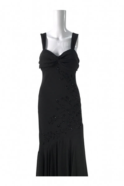 S L. Fashion, Women's Black Floral Sleeveless Dress - Size: 10 (Regular)