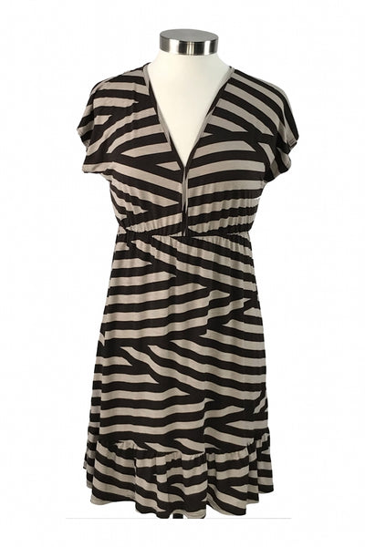 Moonlight, Women's Ivory And Brown Striped Dress - Size: M (Regular)
