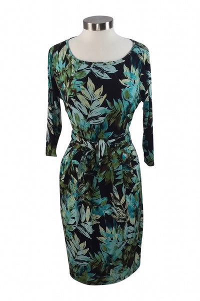 Jones New York, Women's Black And Teal Floral Scoop Neck Midi Dress - Size: 14 (Regular)