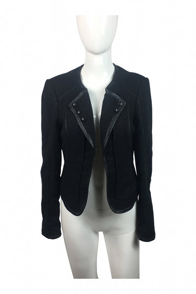 Black White, Women's Black Button-up Jacket - Size: 6 (Regular)