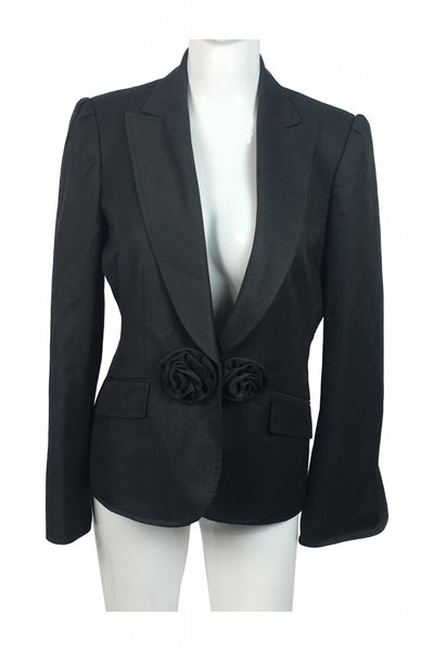 Anne Klein, Women's Blackish Grey Blazer - Size: 8 (Regular)