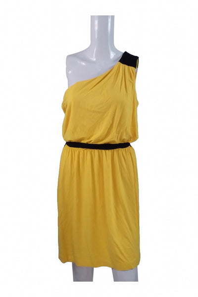 New York & Company, Women's Yellow And Black One-shoulder Dress - Size: M (Regular)