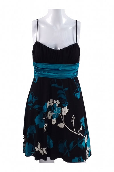 Speechless, Women's Black, Blue, And White Floral Spaghetti Strap Mini Dress - Size: M (Regular)