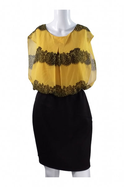 En Focus Studio, Women's Yellow And Black Mini Dress - Size: 8 (Regular)