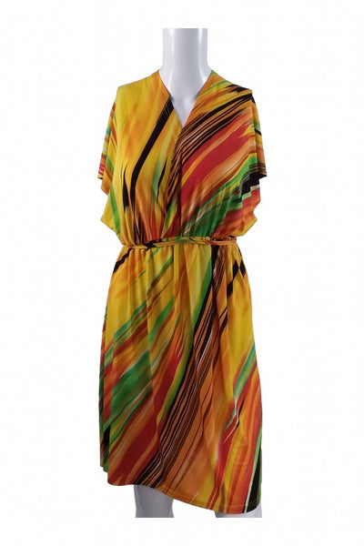 Just Love, Women's Yellow And Red Floral Dress - Size: M (Regular)