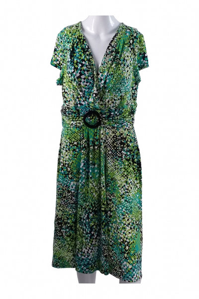 Studio I, Women's Green And Blue Floral Dress - Size: 16 (Regular)