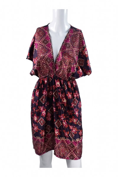 XXI, Women's Purple And Maroon Floral Dress - Size: L (Regular)