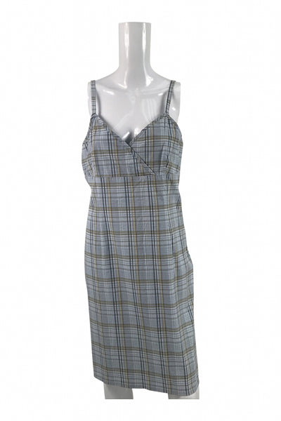 Old Navy, Women's Grey, Brown, And Black Plaid Sleeveless Dress - Size: 12 (Regular)