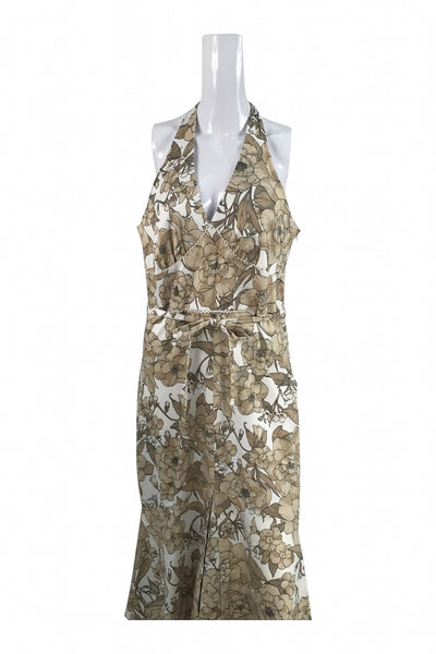 Jonathan Martin, Women's Brown And White Floral Sleeveless Long Dress - Size: 16 (Regular)