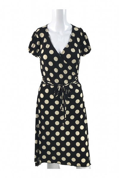 Ruby Rox, Women's Black And White Polka-dot Cap-sleeved Dress - Size: M (Regular)