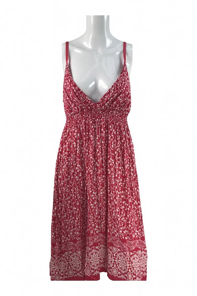 Derek Heart, Women's Red And White Spaghetti Strap Midi Dress - Size: XL (Regular)