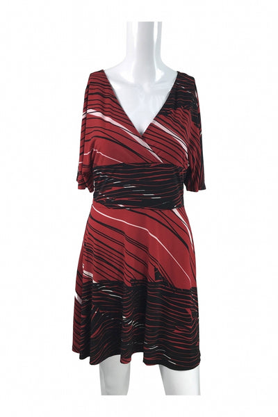 Bisou Bisou, Women's Red And Black Striped Dress - Size: M (Regular)