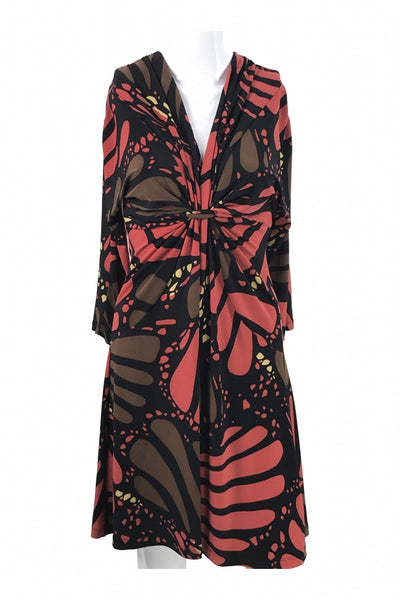 Nine West, Women's Black, Red, And Green Floral Dress - Size: 6 (Regular)
