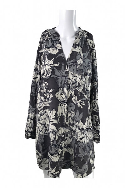 French Connection, Women's Blue, Grey And White Floral Dress - Size: 8 (Regular)