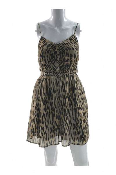 Dynamite, Women's Brown And Black Leopard Print Dress - Size: S (Regular)