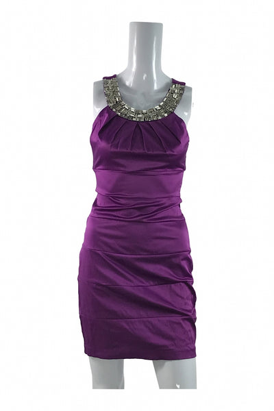 B.darlin, Women's Purple And Silver Sleeveless Sheath Dress - Size: 4 (Regular)