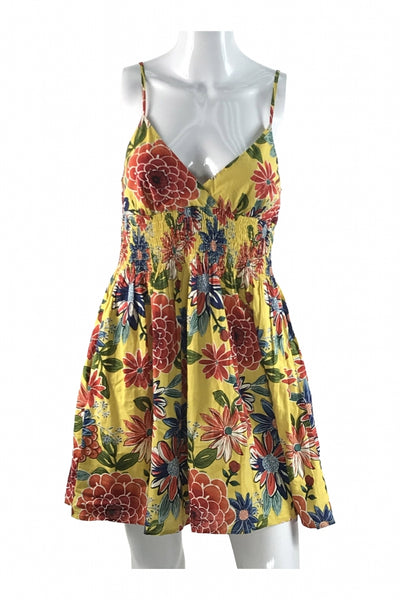 Xhilaration, Women's Yellow And Red Floral Spaghetti Strap Dress - Size: S (Regular)