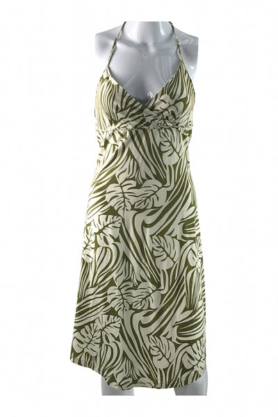 H&M, Women's White And Green Floral Dress - Size: 8 (Regular)