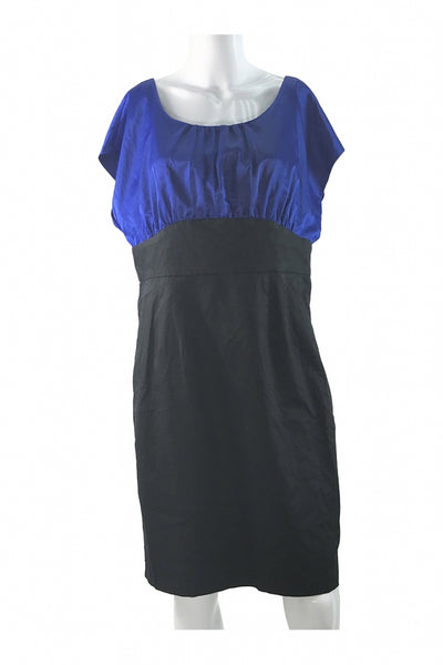 The Limited, Women's Blue And Black Crew-neck Cap-sleeve Dress - Size: 14 (Regular)