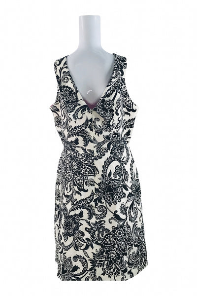 Eliza J, Women's Black And White Floral Sleeveless Dress - Size: 14 (Regular)