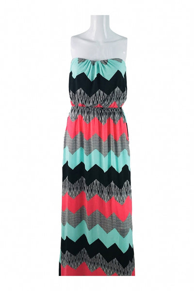 Three Pink Hearts, Women's Green, Black, And Pink Chevron Strapless Maxi Dress - Size: M (Regular)