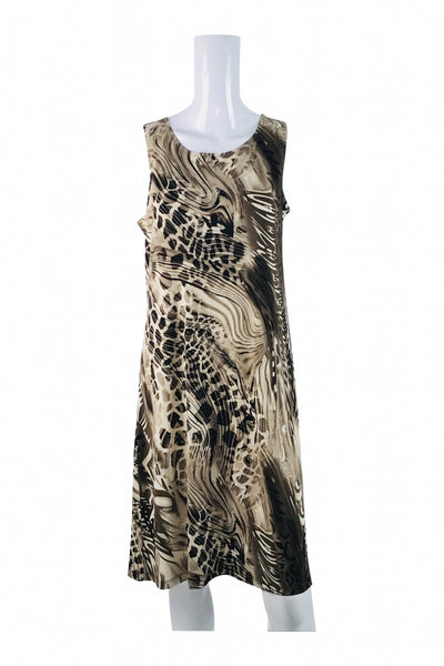 Effortless Style, Women's Brown And Black Leopard Print Sleeveless Dress - Size: M (Regular)