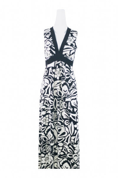 En Focus Studio, Women's Black And White Floral Sleeveless Dress - Size: 8 (Regular)