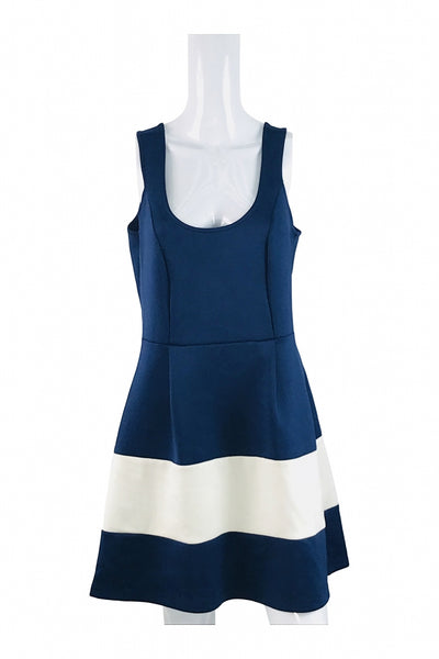 Venus, Women's Blue Scoop Neck Sleeveless Peplum  Dress - Size: 12 (Regular)