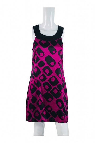 Express, Women's Pink And Black Crew-neck Sleeveless Mini Dress - Size: M (Regular)