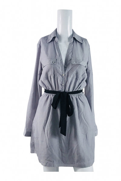 Express, Women's Grey Button-up Long-sleeved Mini Dress - Size: S (Regular)