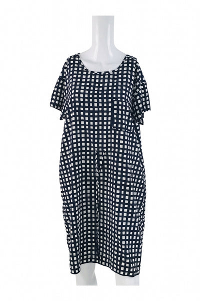 Gap, Women's White And Black Checked Short-sleeved Dress - Size: L (Regular)
