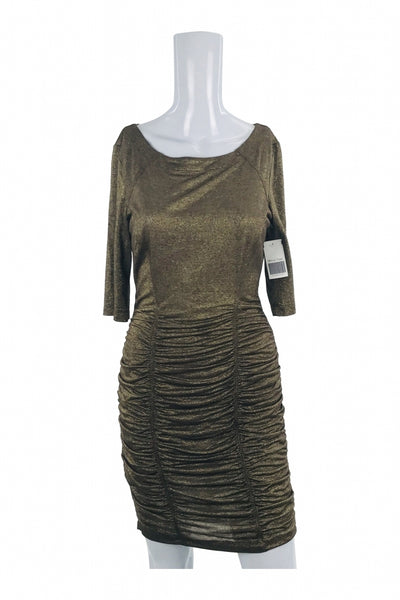 Unbranded, Women's Brown  Scoop-neck Mid-sleeved Dress - Size: M (Regular)