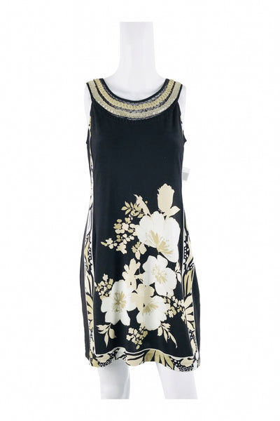 Sandra Darren, Women's Black And White Floral Scoop-neck Sleeveless Dress - Size: 6 (Regular)